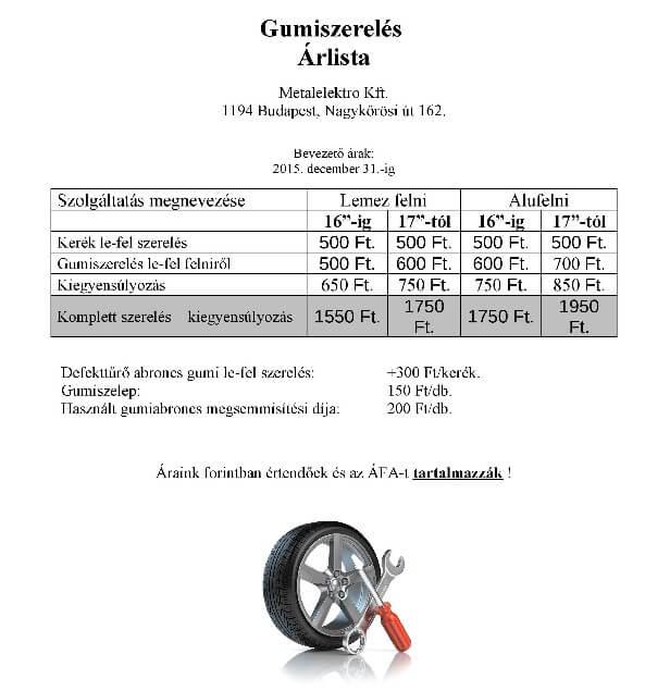 gumiszerelés árak